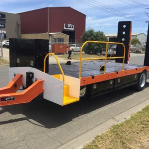 Single Axle Trailer For Excavator With Added Storage And Custom Step