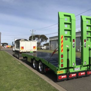 Upt Tandem Axle Plant Trailer Finished In Candy Apple Green With Polished Alloy Wheels And Pintle Hitch